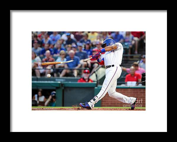 American League Baseball Framed Print featuring the photograph Elvis Andrus by Richard Rodriguez