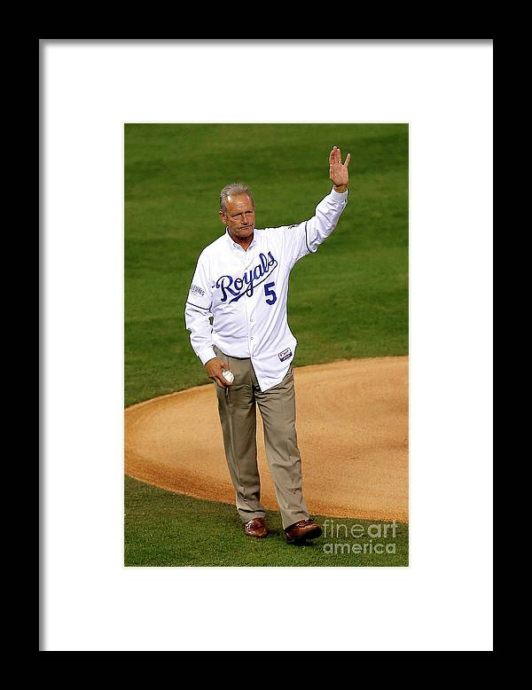 Game Two Framed Print featuring the photograph George Brett by Ed Zurga