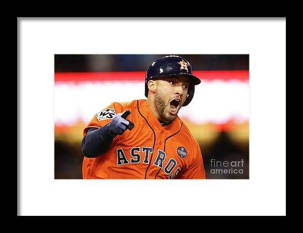 Second Inning Framed Print featuring the photograph George Springer by Ezra Shaw