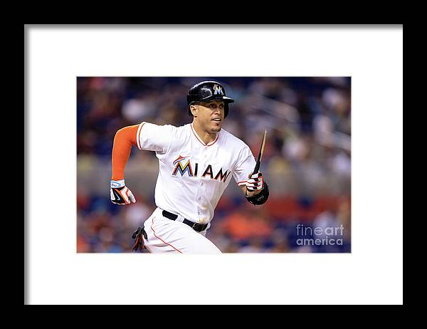 Three Quarter Length Framed Print featuring the photograph Giancarlo Stanton by Rob Foldy