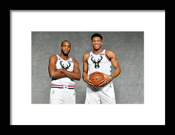 Nba Pro Basketball Framed Print featuring the photograph Giannis Antetokounmpo and Khris Middleton by Jesse D. Garrabrant