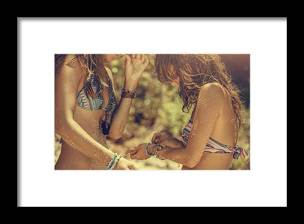 Three Quarter Length Framed Print featuring the photograph Girlfriends on the beach by VladGans