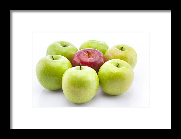 White Background Framed Print featuring the photograph Green and red apples by Ravi Ranjan