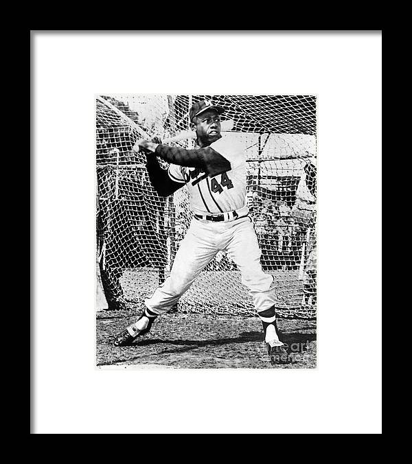 1950-1959 Framed Print featuring the photograph Hank Aaron by National Baseball Hall Of Fame Library