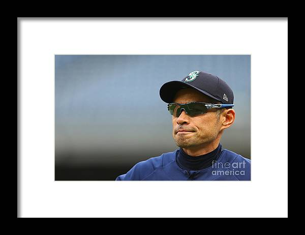 People Framed Print featuring the photograph Ichiro Suzuki by Mike Stobe