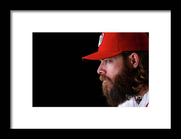 Media Day Framed Print featuring the photograph Jayson Werth by Mike Ehrmann