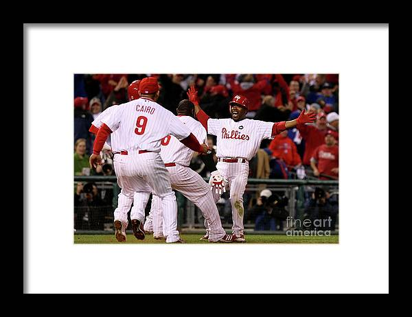 Playoffs Framed Print featuring the photograph Jimmy Rollins by Nick Laham