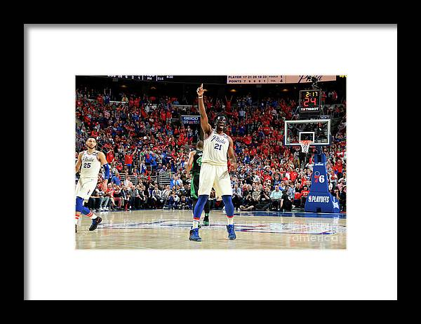 Playoffs Framed Print featuring the photograph Joel Embiid by Brian Babineau