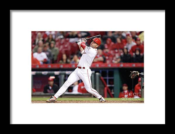 Great American Ball Park Framed Print featuring the photograph Joey Votto by Joe Robbins