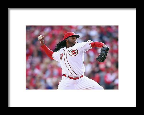 Great American Ball Park Framed Print featuring the photograph Johnny Cueto by Andy Lyons