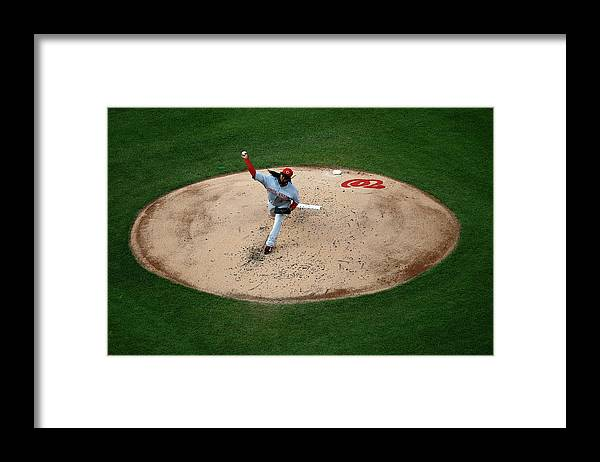 People Framed Print featuring the photograph Johnny Cueto by Rob Carr