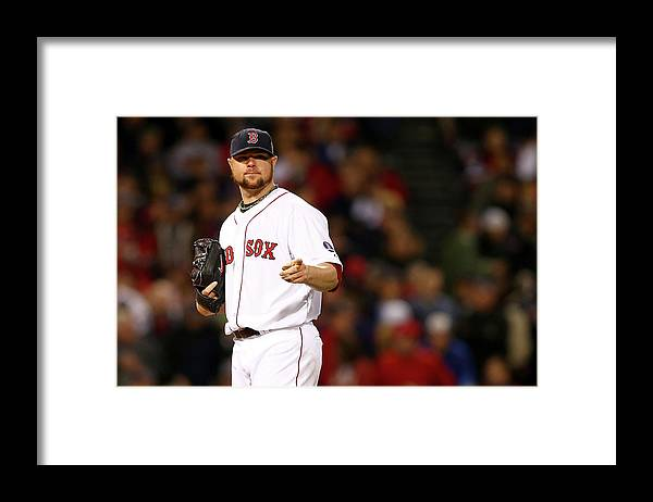 American League Baseball Framed Print featuring the photograph Jon Lester by Elsa