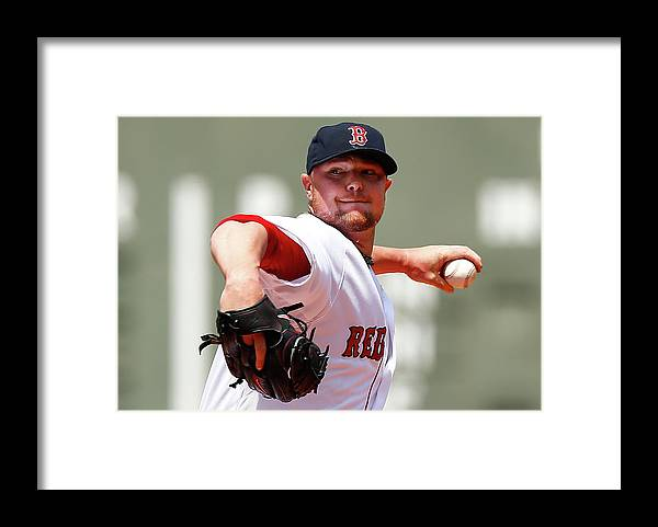 American League Baseball Framed Print featuring the photograph Jon Lester by Jared Wickerham