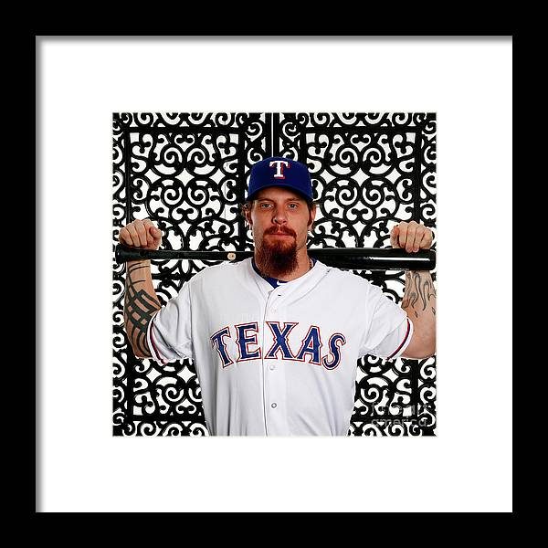 People Framed Print featuring the photograph Josh Hamilton by Jamie Squire