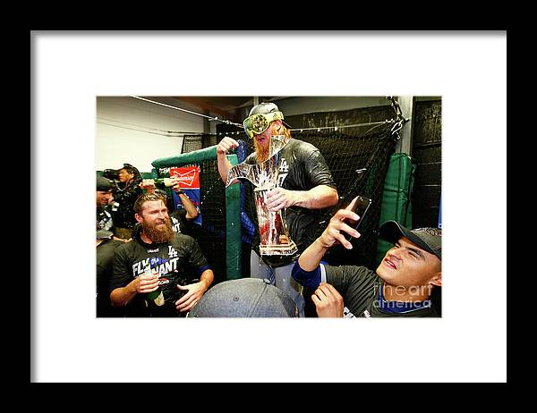 Championship Framed Print featuring the photograph Justin Turner by Jamie Squire