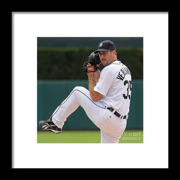 American League Baseball Framed Print featuring the photograph Justin Verlander by Mark Cunningham