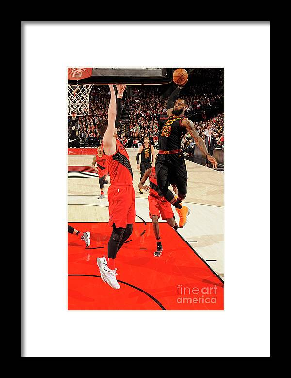 Jusuf Nurkić Framed Print featuring the photograph Lebron James by Cameron Browne