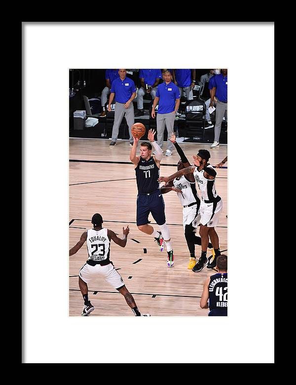 Playoffs Framed Print featuring the photograph Los Angeles Clippers v Dallas Mavericks - Game Four by David Dow