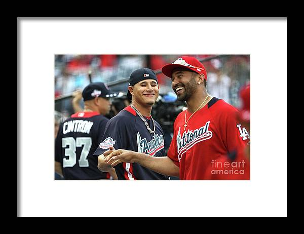 People Framed Print featuring the photograph Manny Machado and Matt Kemp by Patrick Smith