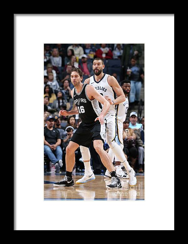 Nba Pro Basketball Framed Print featuring the photograph Marc Gasol and Pau Gasol by Joe Murphy