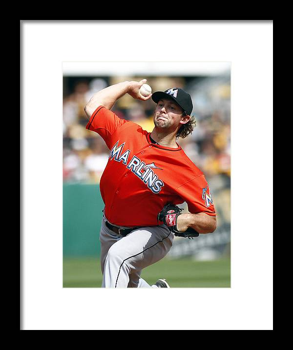 Professional Sport Framed Print featuring the photograph Miami Marlins v Pittsburgh Pirates by Justin K. Aller