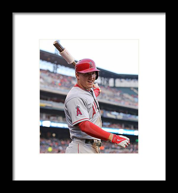 On-deck Circle Framed Print featuring the photograph Mike Trout by Leon Halip
