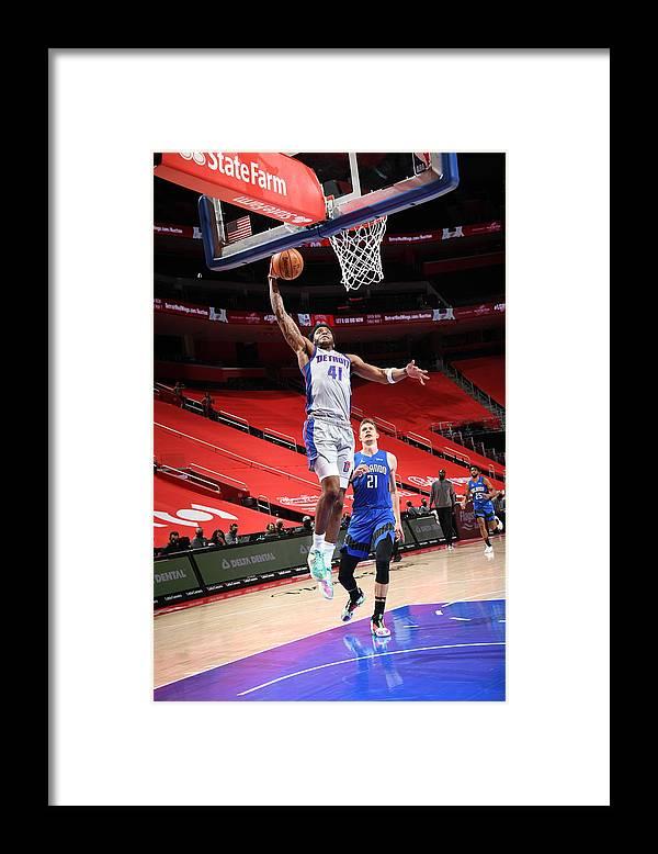 Nba Pro Basketball Framed Print featuring the photograph Orlando Magic v Detroit Pistons by Chris Schwegler