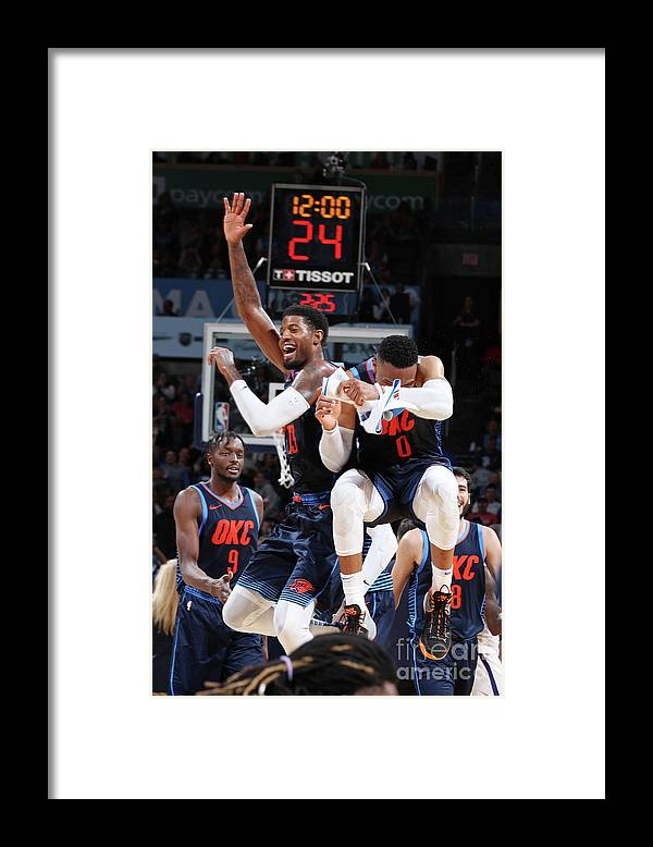 Nba Pro Basketball Framed Print featuring the photograph Paul George and Russell Westbrook by Zach Beeker
