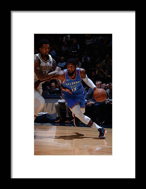 Nba Pro Basketball Framed Print featuring the photograph Paul George by Bart Young