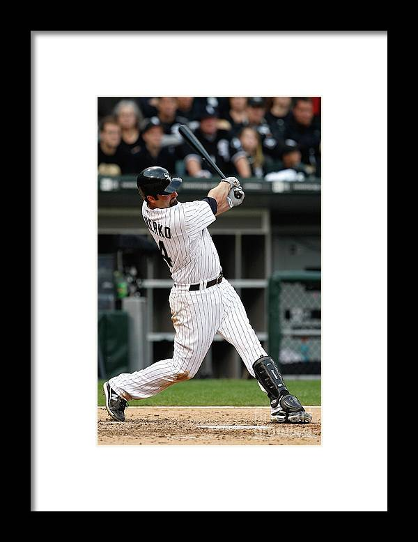 Playoffs Framed Print featuring the photograph Paul Konerko by Jamie Squire