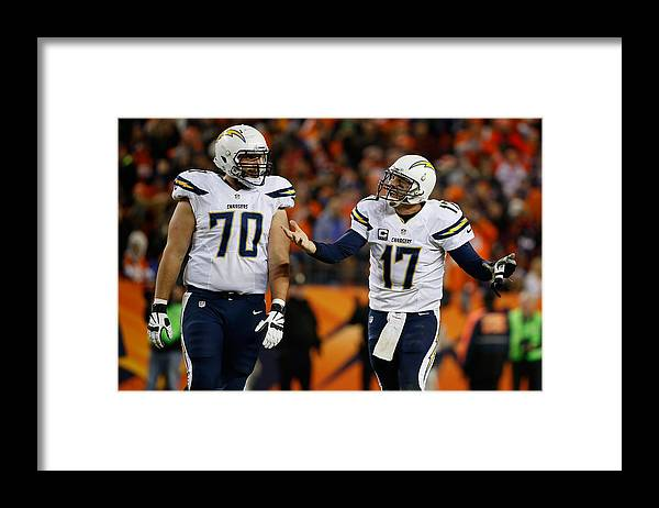Three Quarter Length Framed Print featuring the photograph San Diego Chargers v Denver Broncos by Sean M. Haffey