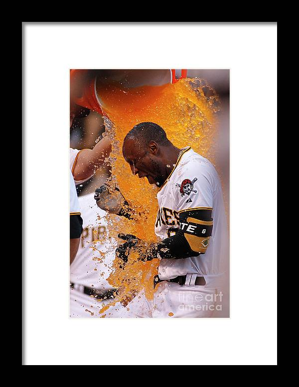 Three Quarter Length Framed Print featuring the photograph Starling Marte by Justin K. Aller