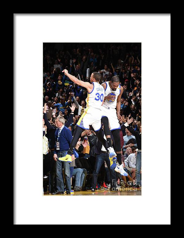 Nba Pro Basketball Framed Print featuring the photograph Stephen Curry and Kevin Durant by Andrew D. Bernstein