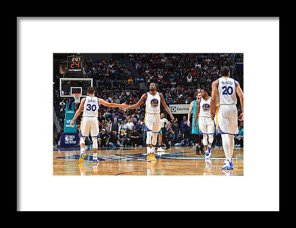 Nba Pro Basketball Framed Print featuring the photograph Stephen Curry and Kevin Durant by Jesse D. Garrabrant