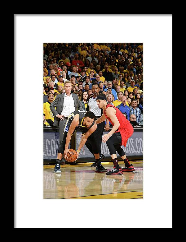Playoffs Framed Print featuring the photograph Stephen Curry and Seth Curry by Noah Graham