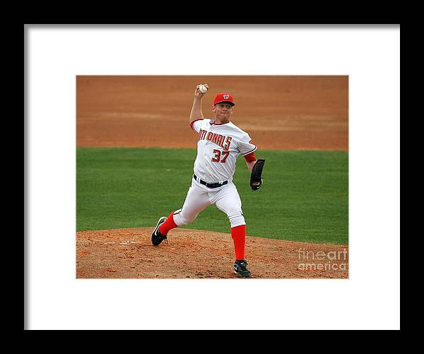 American League Baseball Framed Print featuring the photograph Stephen Strasburg by Doug Benc