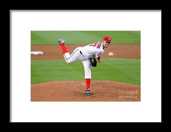 Stephen Strasburg Framed Print featuring the photograph Stephen Strasburg by G Fiume