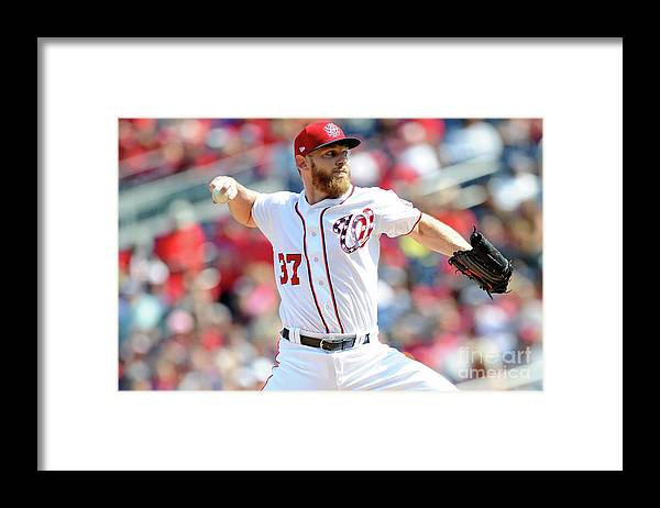 Three Quarter Length Framed Print featuring the photograph Stephen Strasburg by Greg Fiume