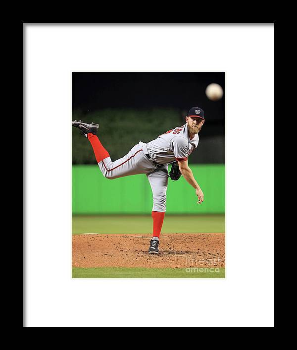 People Framed Print featuring the photograph Stephen Strasburg by Mike Ehrmann