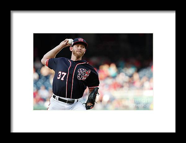Three Quarter Length Framed Print featuring the photograph Stephen Strasburg by Patrick Mcdermott