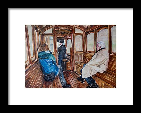 Tram Framed Print featuring the painting The Tram by Jennifer Lycke