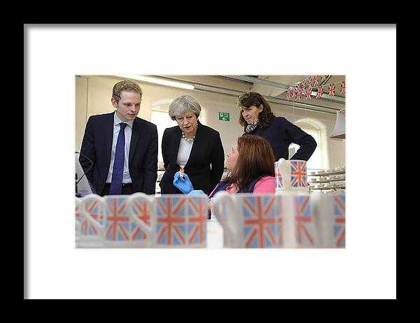 Democracy Framed Print featuring the photograph Theresa May Visits Stoke-On-Trent Central Ahead Of Thursday's By-election by Christopher Furlong