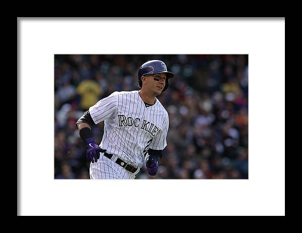 Shortstop Framed Print featuring the photograph Troy Tulowitzki by Doug Pensinger