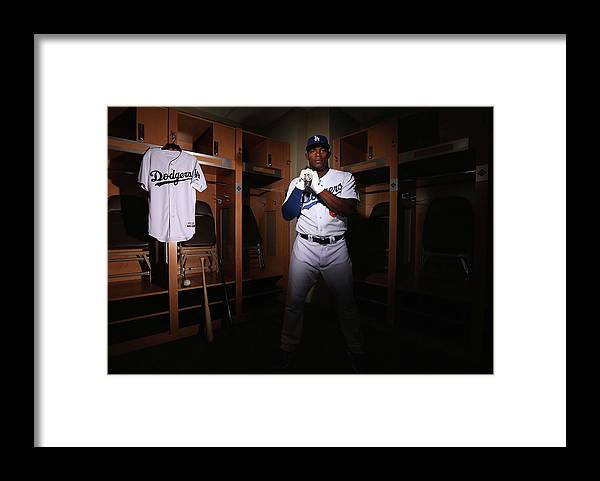 Media Day Framed Print featuring the photograph Yasiel Puig by Christian Petersen