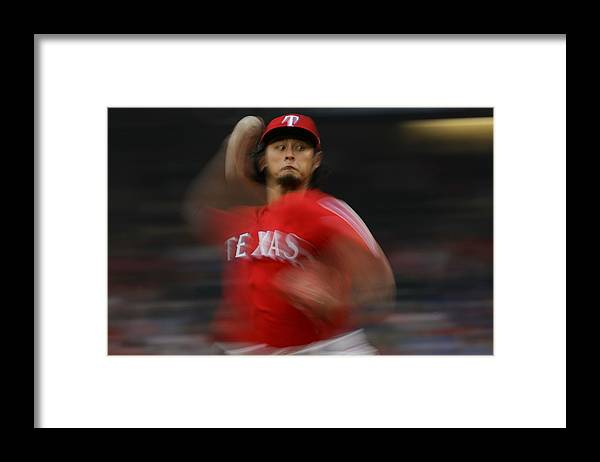 Game Two Framed Print featuring the photograph Yu Darvish by Ronald Martinez