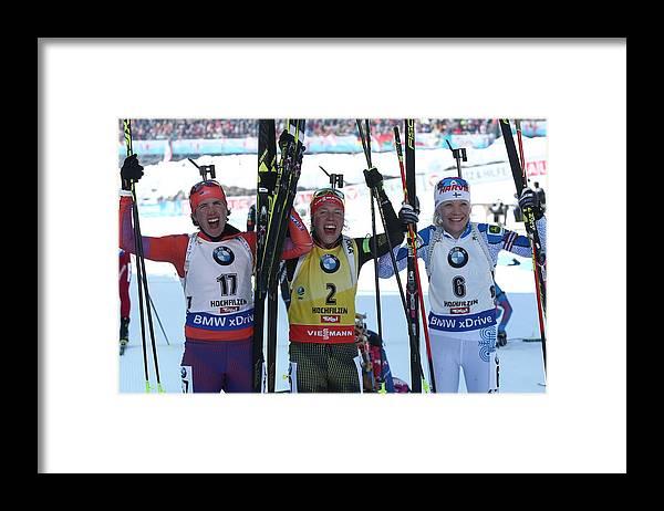 Hochfilzen Framed Print featuring the photograph 2017 IBU World Championships: women's 12.5km mass start race by Stanislav Krasilnikov