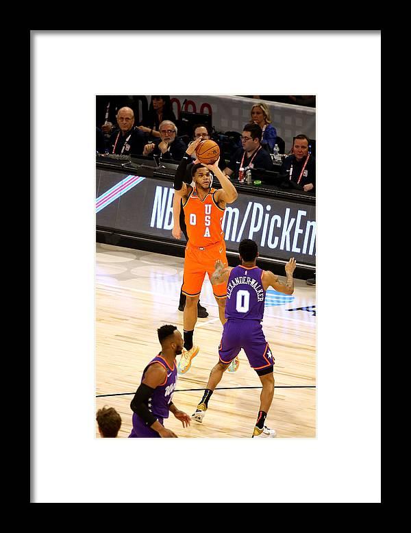 Nba Pro Basketball Framed Print featuring the photograph 2020 NBA All-Star - Rising Stars Game by David Sherman