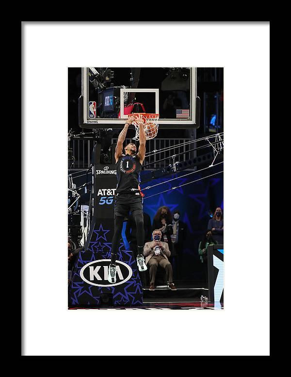 Atlanta Framed Print featuring the photograph 2021 NBA All-Star - AT&T Slam Dunk Contest by Joe Murphy