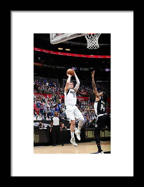 Playoffs Framed Print featuring the photograph 2021 NBA Playoffs - Dallas Mavericks v LA Clippers by Adam Pantozzi