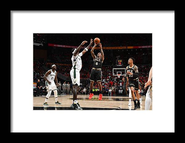 Atlanta Framed Print featuring the photograph 2021 NBA Playoffs - Milwaukee Bucks v Atlanta Hawks by Jesse D. Garrabrant